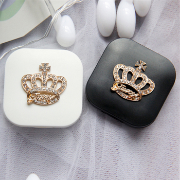 Cute Contact Lenses Case Crown Design Travel Lens Box Set With Mirror Eye Lenses Holder Container For Cosmetic Contact Lens luxury roundness contact lens case color water eye lens box popular travel lens case contact with mirror