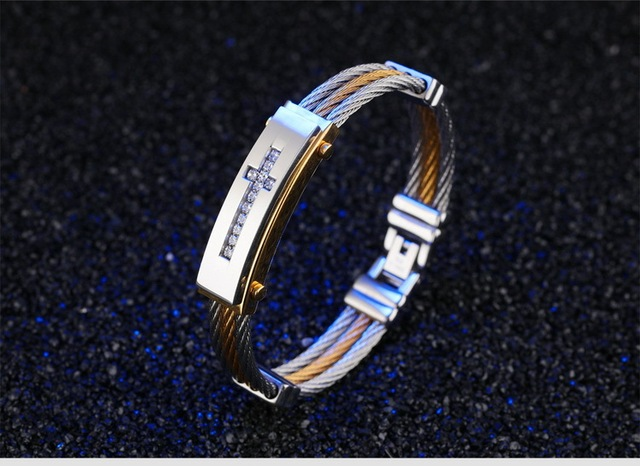 Фото модный мужской браслет 316l титановая сталь три ряда проволоки