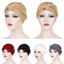 Muslim Women India Hat Muslim Hijab Ruffle Chemo Beanie Turban Islamic Wrap Cap Amira Plain Headscarf Hair Loss Hat Knot Bonnet