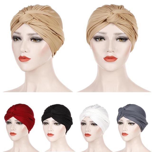 이슬람 여성 인도 모자 이슬람 hijab 프릴 chemo beanie turban 이슬람 포장 모자 amira 일반 headscarf 탈모 모자 매듭 보닛