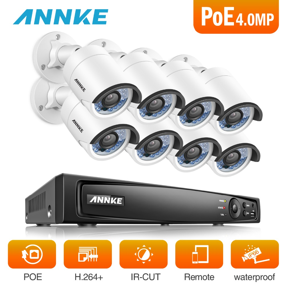 ANNKE 8CH 6MP POE NVR Security System With 8pcs 4mm 4MP Weatherproof Infrared Night Vision Cameras Motion Detection WDR 3D DNRANNKE 8CH 6MP POE NVR Security System With 8pcs 4mm 4MP Weatherproof Infrared Night Vision Cameras Motion Detection WDR 3D DNR