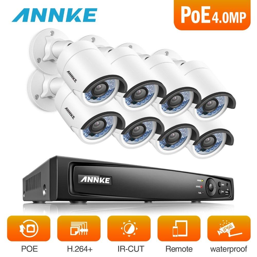 ANNKE 8CH 6MP POE NVR Sistema de Segurança Com 8 pcs 4mm 4MP Infravermelho à prova de Intempéries Câmeras de Visão Noturna de Detecção de Movimento WDR DNR 3D
