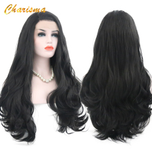 Charisma 26 Inches Long Body Wave Synthetic Lace Front Wig Black Color