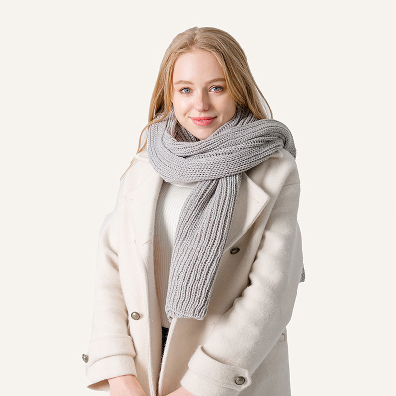 090b9042101 Winter Knitted Women Gray Long Scarf Warm Scarves for Women Black White  Winter Scarf Lovers Solid Knit Scarfs Red Men Shawl