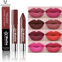 8ピース/ロットmiss roseブランドマット口紅ヌード口紅マット赤い唇防水長続き美容化粧品リップカラー鉛筆
