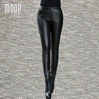 Черный Натуральная кожа Штаны 100% кожа ягненка узкие брюки снизу Pantalon Femme Mujer lt800 Бесплатная доставка