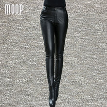 Black genuine leather pants 100% lambskin pencil pants trousers bottom pantalon femme pantalones mujer LT800 Free shipping