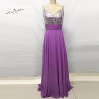Robe Demoiselle D Honneur Purple Bridesmaid Dresses 2016 Sequin Silver Wedding Party Dress Gowns Chiffon Bruidsmeisjes
