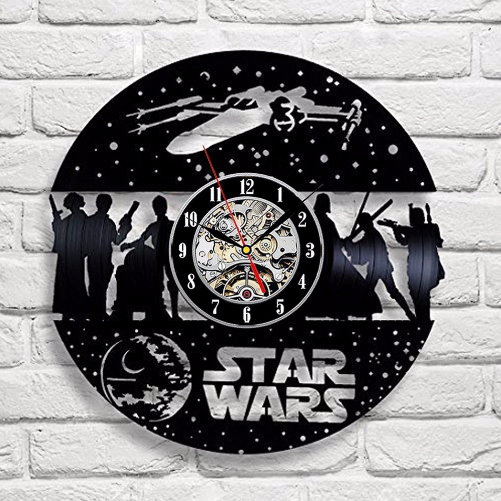Star Wars Death Star Darth Vader Luke Skywalker Movie Characters Vinyl Record Design Wall Clock