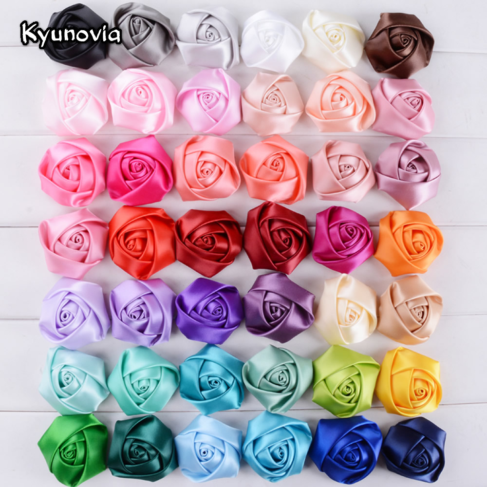 Kyunovia 5cm Satin Ribbon Silk Rose Flower Wedding Flower Bride Bouquet Boutonniere Headware Kids Hair Christmas Accessories C01