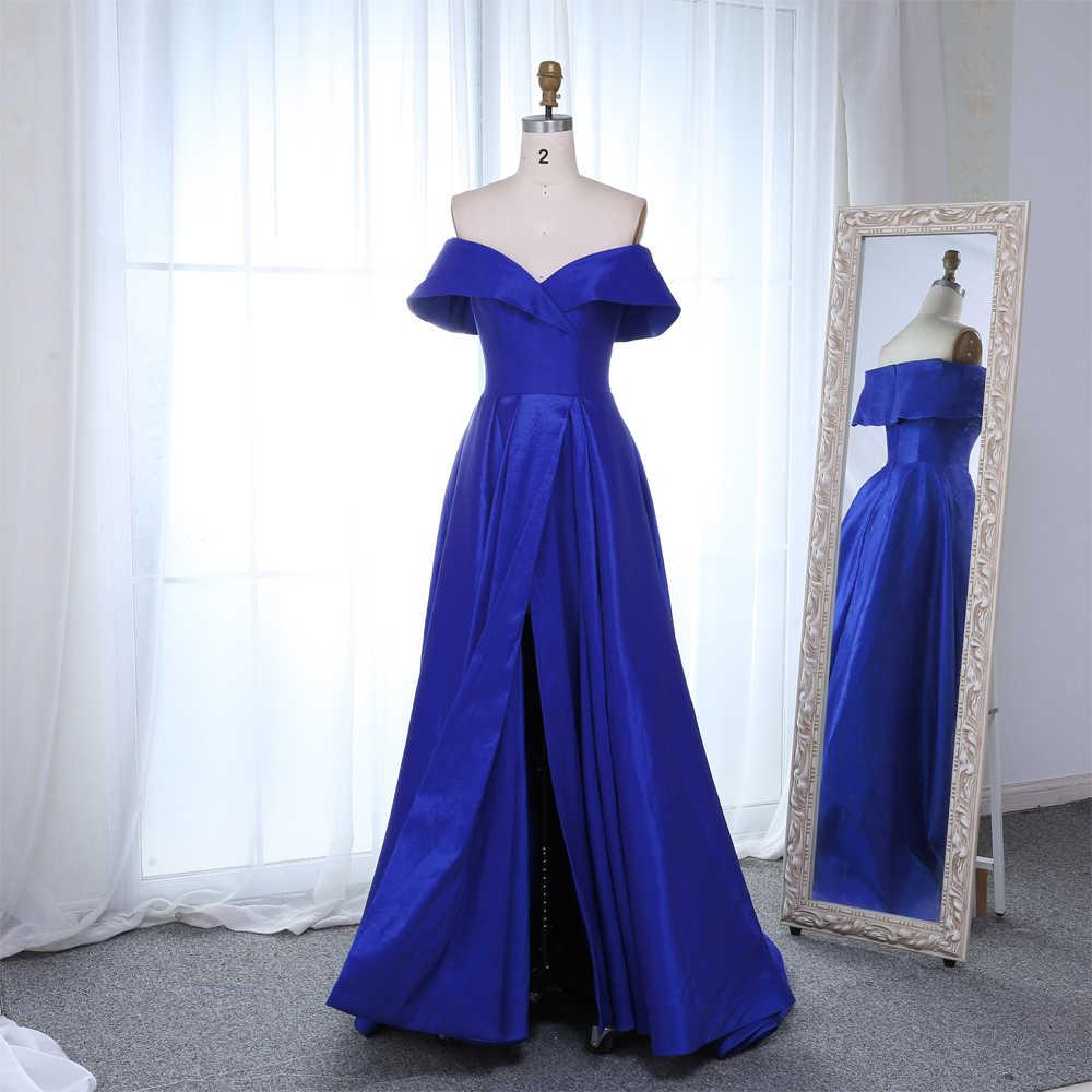 f22e7ce64a18 ... Simple Royal Blue Evening Dresses 2019 High Slit Long Women Off the Shoulder  Evening Gowns Plus ...