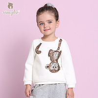 Simyke Girls Sequins Top 2017New Autumn Children's Causal Sweatshirt Toddler Winter Tee Kids Brand Clothing Child Clothes W3388