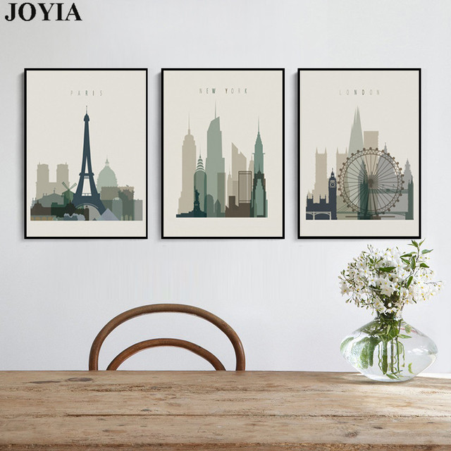 Home Decor Wall Art Abstract City Silhouette Retro Canvas Pictures Paris  London New York Decorative Artwork