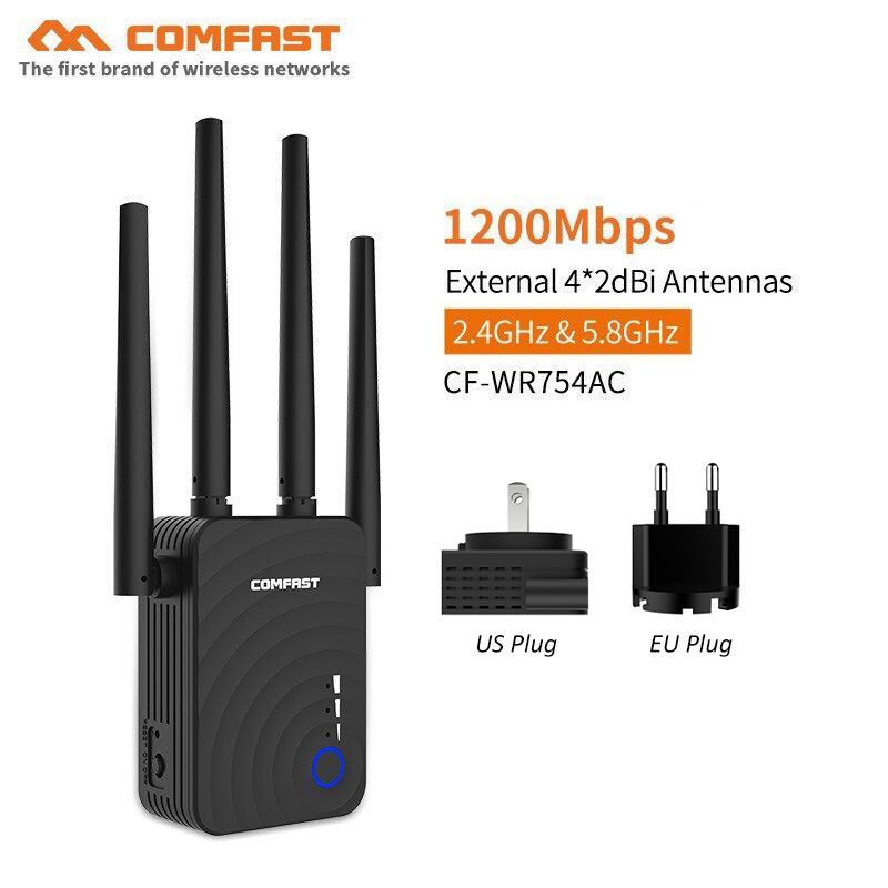 New Gift 1200Mbps Home Wireless N Router WIFI Repeater 5Ghz Wi Fi Amplifier 4*2dbi Antenna 802.11ac Access Point Signal Booster