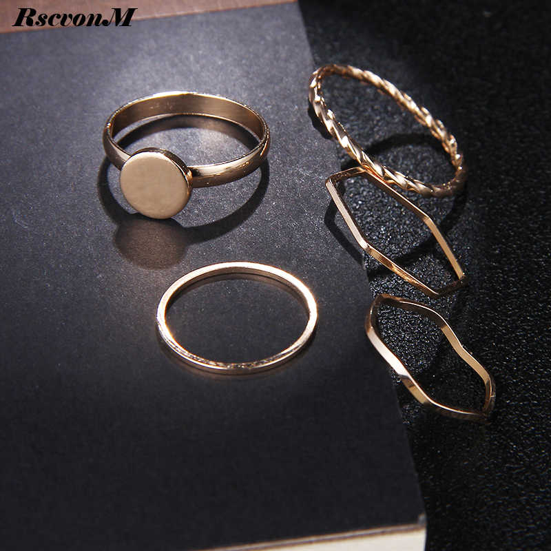 RscvonM 5Pcs/set NEW Punk Rock Gold Stack Plain Band Midi Mid Finger Knuckle Rings Set for Women Mid Finger Ring Thin Ring