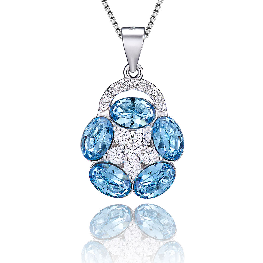 VOJEFEN Blue Lotus Necklace Cubic Zirconia 925 Sterling Silver Flower Pendant Necklace for WomenVOJEFEN Blue Lotus Necklace Cubic Zirconia 925 Sterling Silver Flower Pendant Necklace for Women