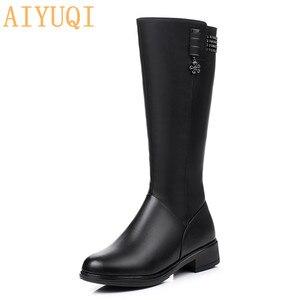 Image 1 - Femmes chaussures dhiver bottes en cuir véritable elle à talons hauts fille longue laine fille frail dame chaussures de mode bottes militaires