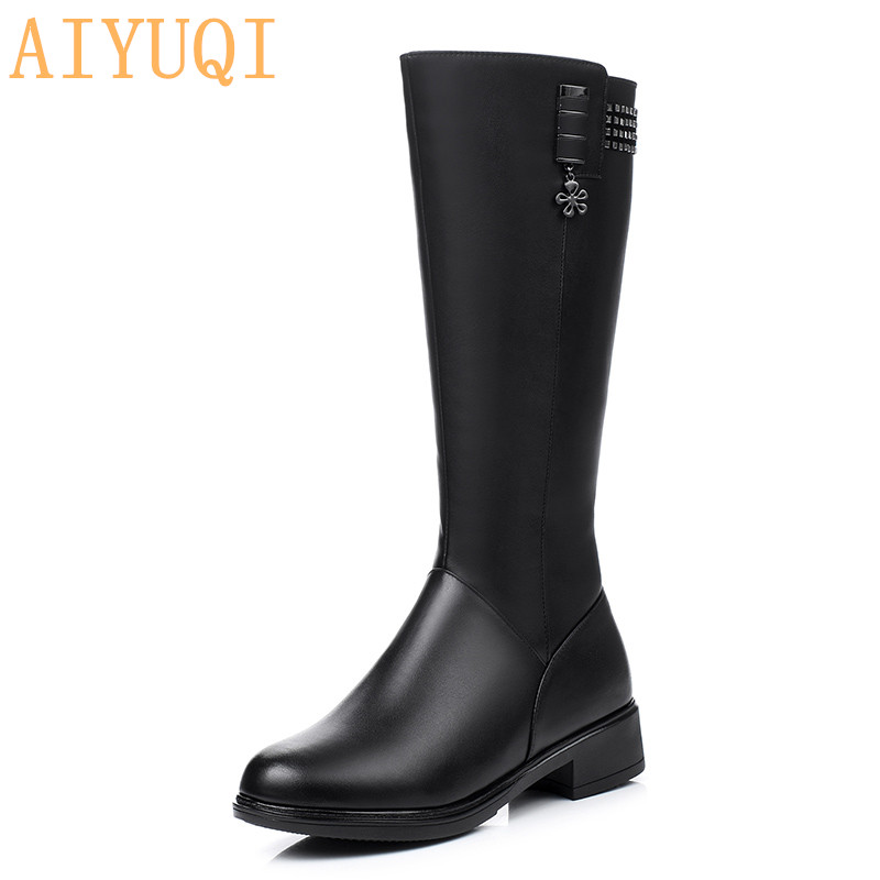 Women Winter Boots. Genuine Leather Female boots .high-heeled women long boots. wool lined warm snow boots Lady Fashion shoes