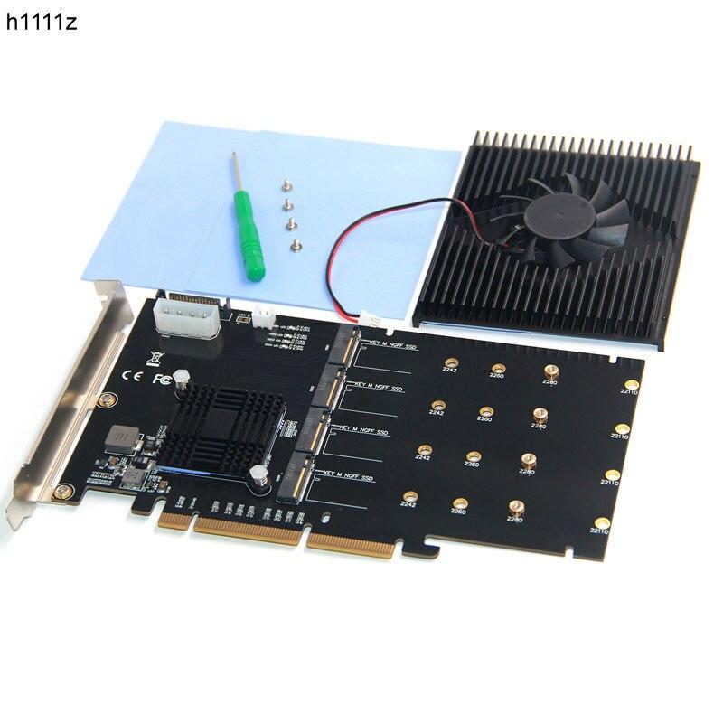 H1111Z ajouter des cartes adaptateur M.2 contrôleur Raid/SSD/carte PCI-E/PCIE M.2 SSD dissipateur thermique de refroidissement PCIE X16 pour M.2 2280 NVME SSD + ventilateur