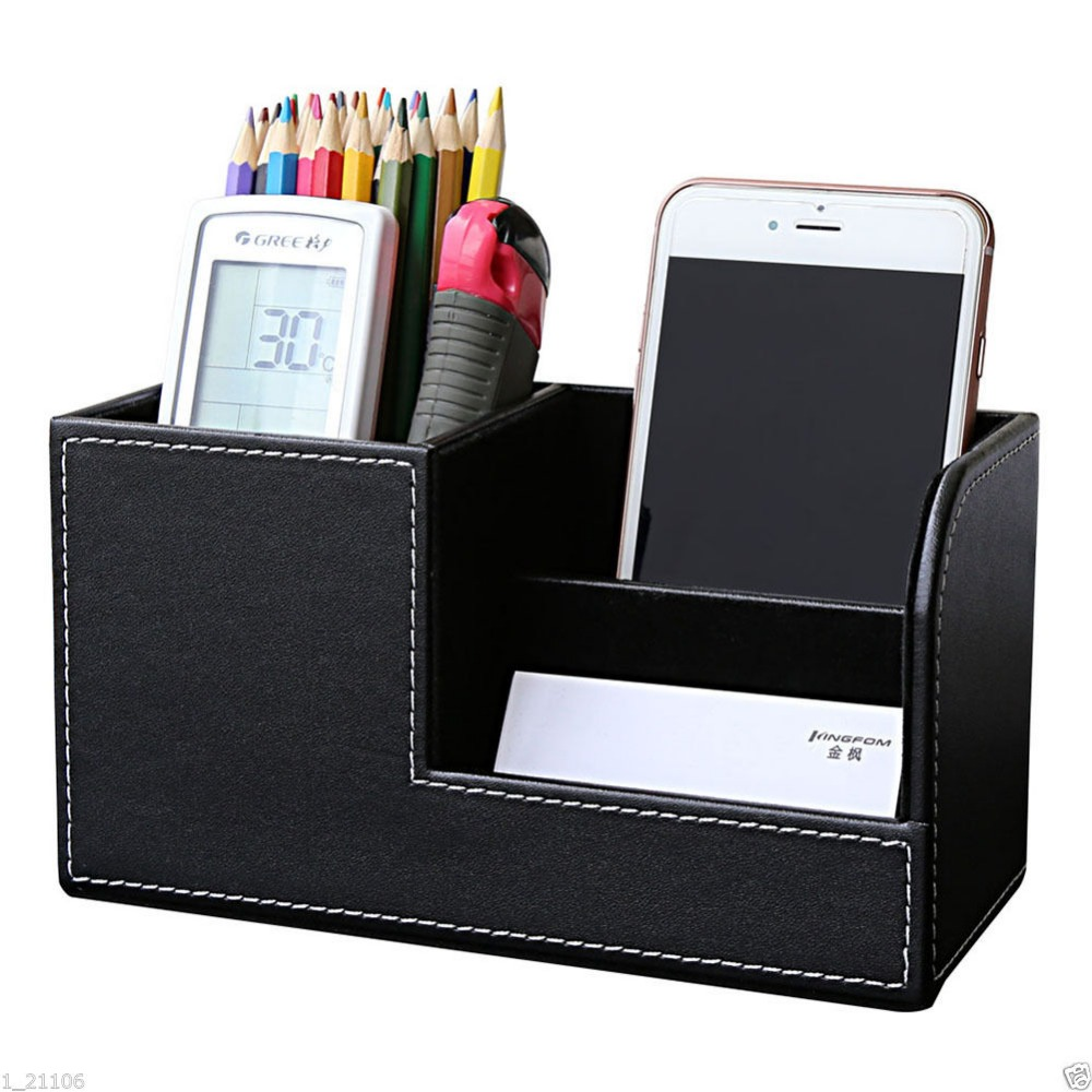 High Grade PU Leather Pen Pencil Box Holder Desktop Remote Storage Box Stationery Organizer Case Container