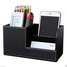 High Grade PU Leder Pen Box Halter Desktop Fernbedienung Aufbewahrungsbox Veranstalter Fall Behälter