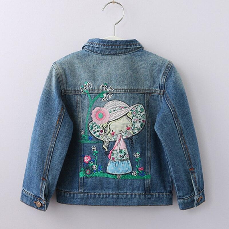 a2c5236752f Джинсовые куртки для девочек пальто прекрасный мультфильм аппликация  Детская одежда модная верхняя одежда для девочек Демисезонный