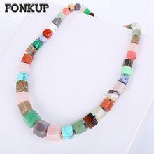 Fonkup Colorful Crystal Necklace Rainbow Chains font b Jewelry b font Punk font b Women b