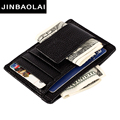 JINBAOLAI 2016 High quality first COW leather Genuine MINI Money Clips For Men Vintage slim design credit card clip wallet men