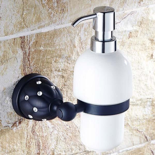 Oil Rubbed Bronze Bathroom U0026 Kitchen Ceramic Soap Dispenser Wall Mounted  Soap Holder