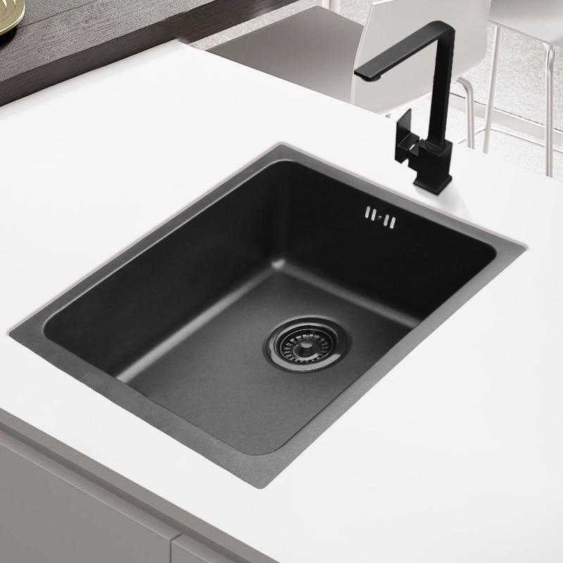 Nano-bar noir balcon mini-petit évier grand unique auge set repas 304 cuisine en acier inoxydable petit lave-vaisselle