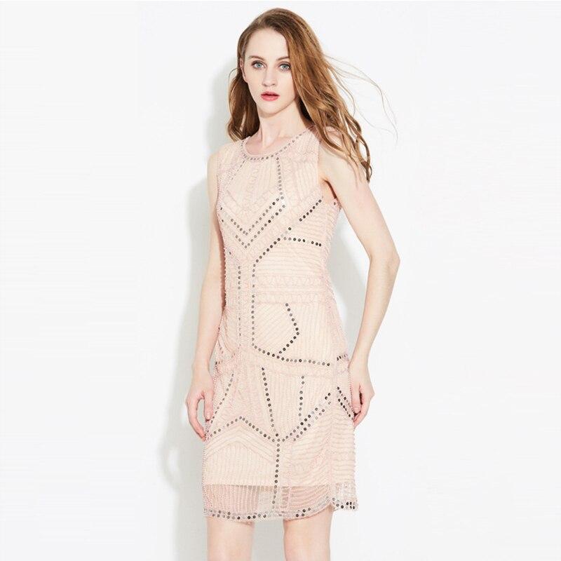 Buy Cheap Brief beading sequined Net yarn designer O neck sleeveless elegant slim vest jacquard dresses 2017 new nice women's dresses