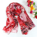 Women Red 100% Mulberry Silk Large Silk Scarves Fashion Popular Style Wraps New Design Lengthened Silk Shawls 180*110cm