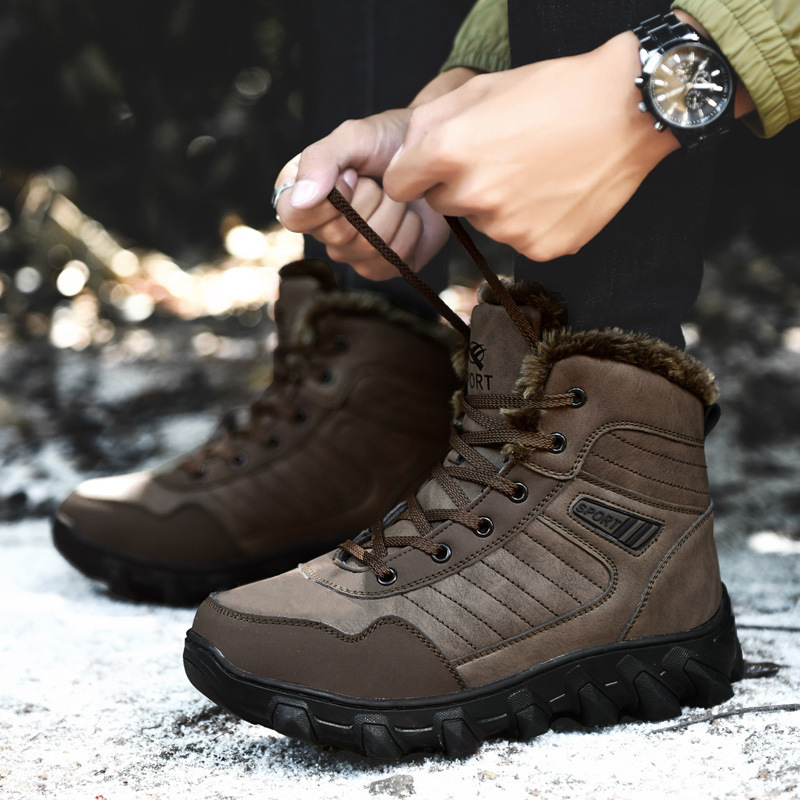 Keep Warm Outdoors Boots Shoe Non-slip Shoe Cotton-padded winter sneakers for men hiking trekking sport shoes outdoor camping mulinsen brand new winter men sports hiking shoes cowhide inside keep warm sport shoes wear non slip outdoor sneaker 270606