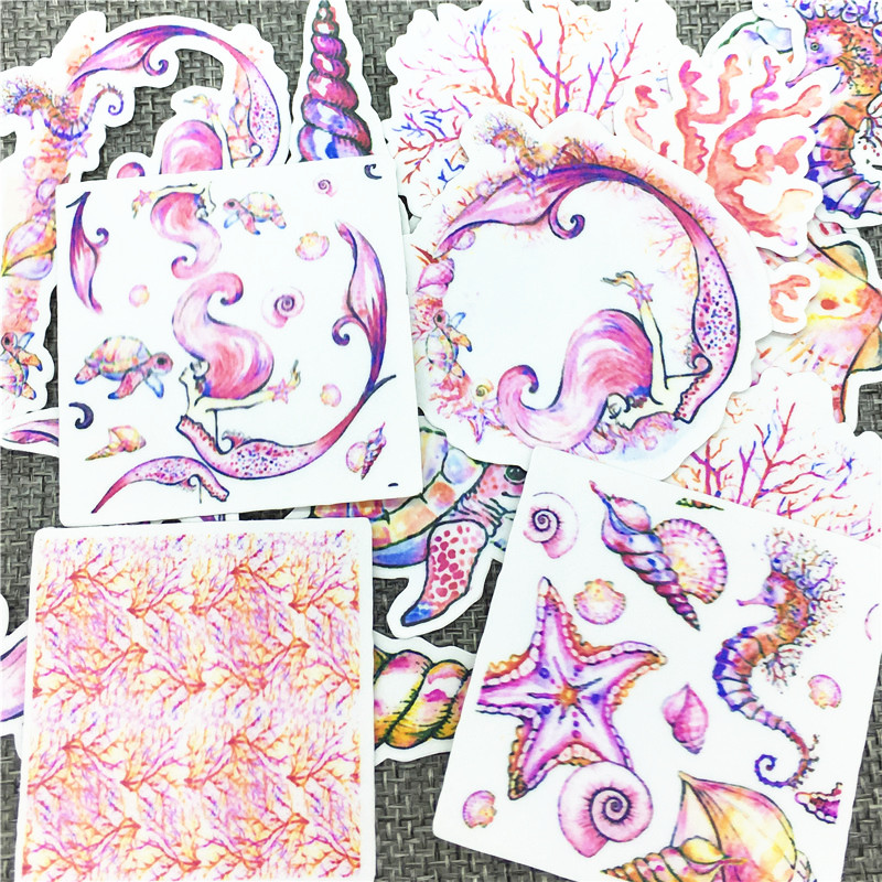Image 3 - 20 Pcs/Lot Marine Life Mermaid Cute Self made stickers scrapbooking For Cartoon Sticker For Laptop Fridge Skateboard-in Stickers from Home & Garden