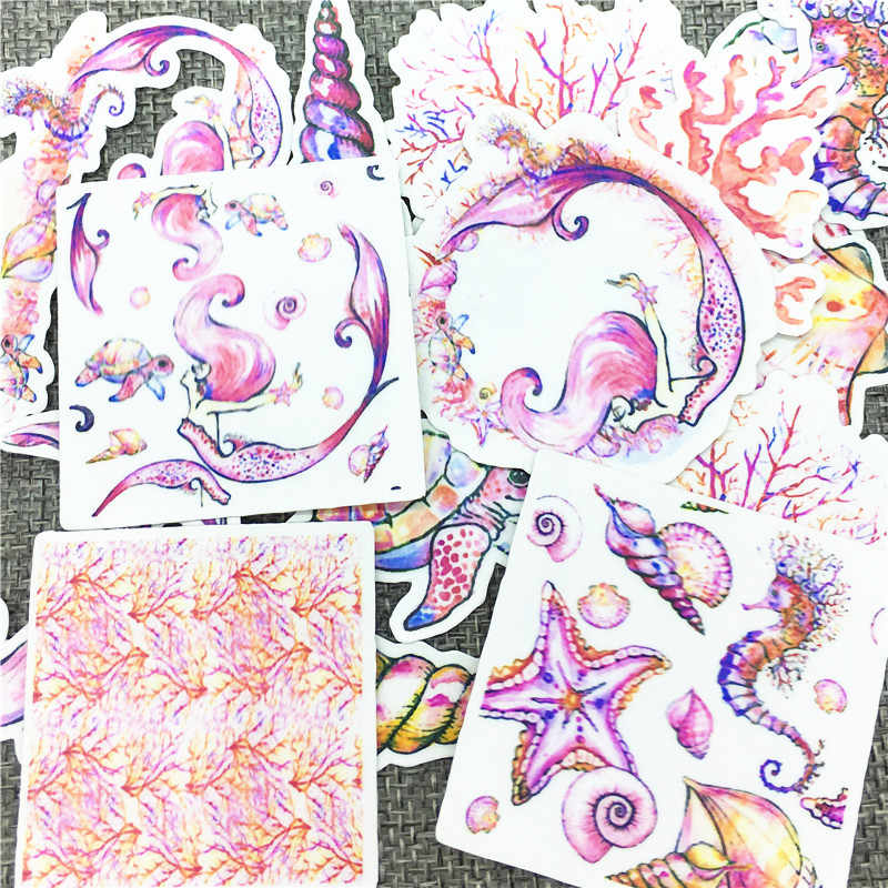 20 pçs/lote Vida Marinha Sereia Bonito Self-made etiquetas scrapbooking Para A Etiqueta Dos Desenhos Animados Para Computador Portátil Frigorífico Skate