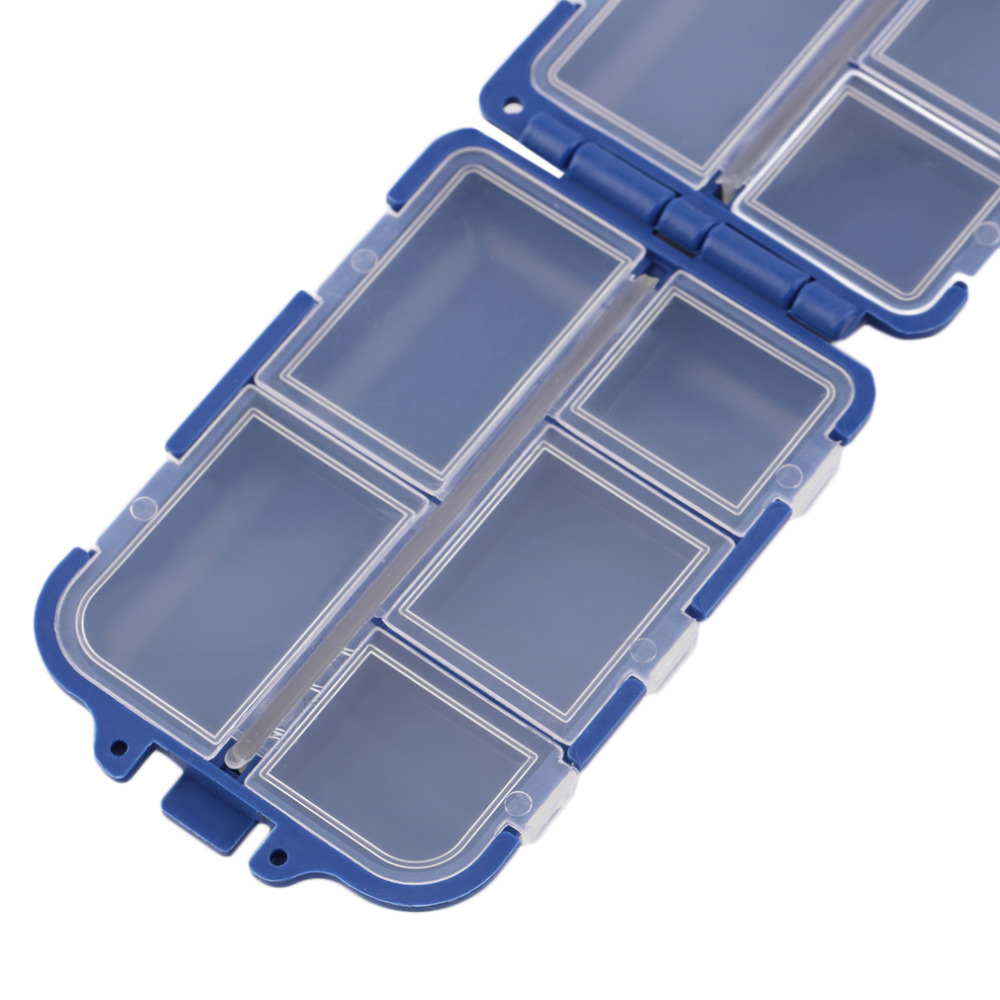 10*6.4*3cm 10 Compartments Storage Case Fly Fishing Lure Spoon Hook Bait Tackle Case Box Fishing Accessories Tools ABS