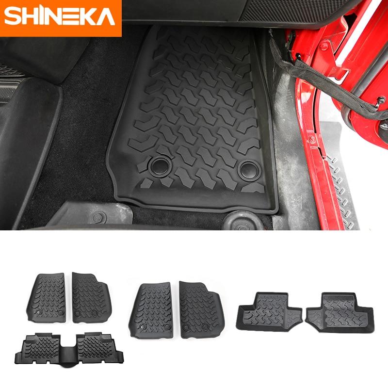SHINEKA Car Mat Antislip Rubber Rear Row Floor Mats Pad Liner Carpets For Jeep Wrangler JK 2014 2015 2016 2017 Car Accessories