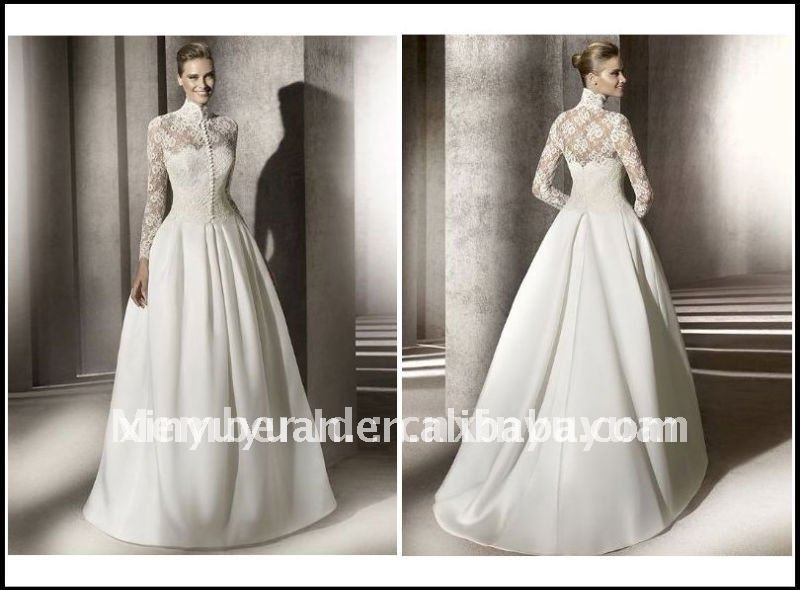 Long Sleeve Lace Ball Gown Wedding Dress: Hot 2012 Romantic Ball Simple Long Lace Sleeve Jacket