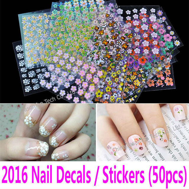 50 different sheets 3D Nail Decals Nail Stickers Nail Art Tools ...