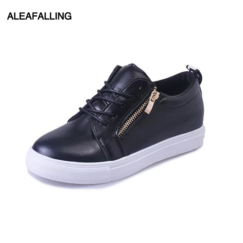 Aleafalling Women Casual Shoes Autumn Spring Women Shoes Fashion College Student Girl's Zip Lace-Up Two Open Women Sneakers Fl68