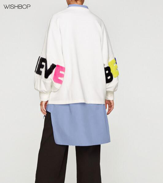 WISHBOP NEW 2017 FALL Woman Round neck sweatshirt long puffy sleeves with faux fur LOVE LIEVE letters slogan Patch design