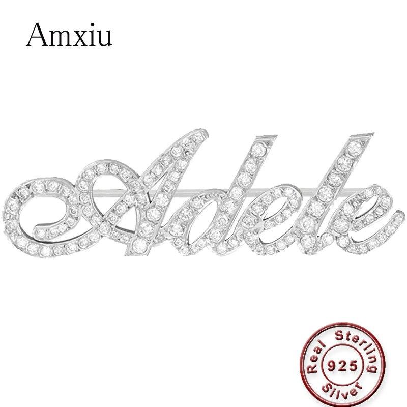Amxiu nom personnalisé bijoux 925 broche en argent Sterling graver tout nom broches pour femmes filles cadeau AAA Zircon broches