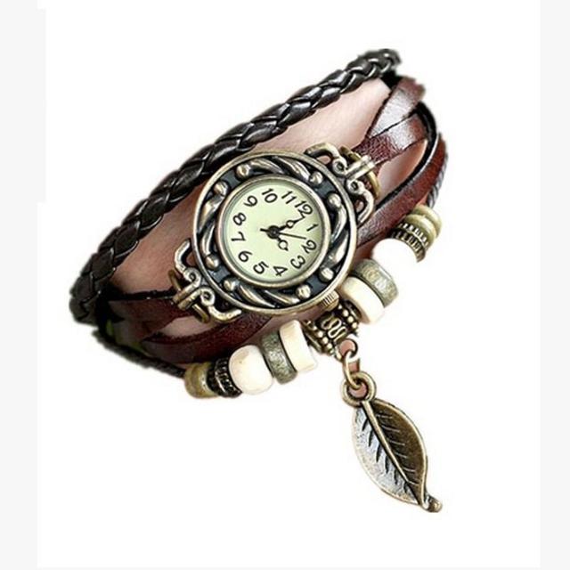 2018 Women Watches Fashion Leather Vintage Weave Wrap Quartz Wrist Watch Bracelet Watch relogio feminino  #D