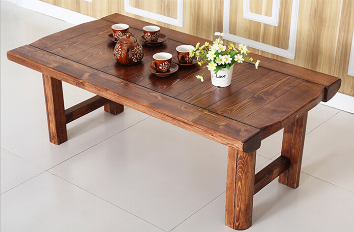 Vintage Furniture Wooden Table Folding Legs Rectangle 130cm Living Room Asian Antique Style Bench  Low Coffee Wood Table