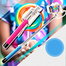 Mini Foldable Self Stick Tripod Monopod Wired Selfie Stick Cable Extendable Built-in Shutter Stick For iPhone Samsung Smartphone