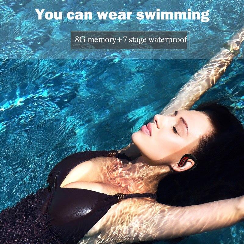 IPX7 casque bluetooth casque de sport de natation réel avec 8 GB sous-marine natation Gym écouteurs haute vitesse USB 2.0 connexion