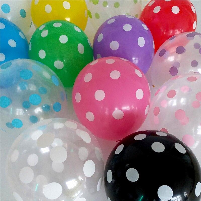 50pcs 12inch Latex Transparent Balloons Polka Dot Colored Wedding Birthday Party Balloons Decoration Globos Air Balls Baloons