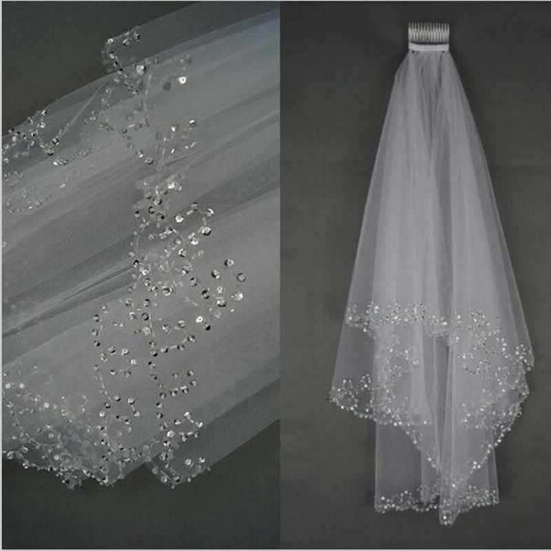 Wanita Bridal Veil 2018 Pernikahan Kerudung putih Gading 2 Layers 75 CM Handmade Beaded Ujung Dengan Sisir Pernikahan Aksesoris