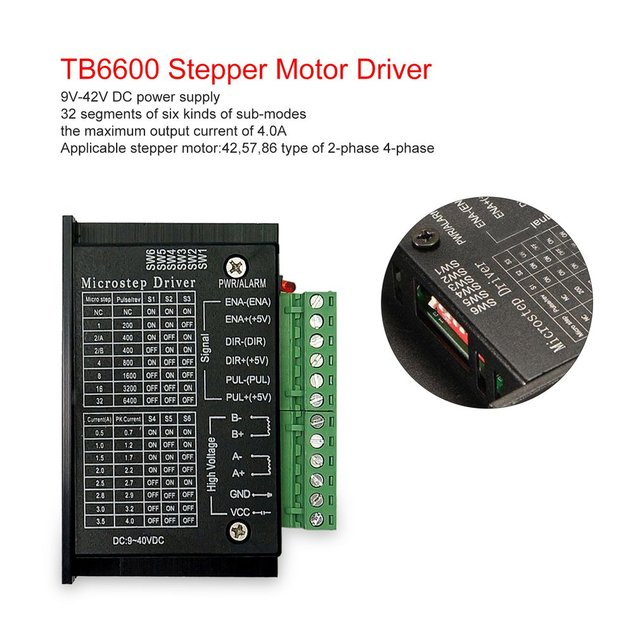 5PCS TB6600 4.0A Stepper Motor Driver 42/57/86 32 Segments Upgraded Version 42VDC for CNC Router machine Engraving Drilling