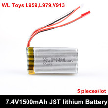 5 piece/lot 7.4V 1500mAh 2S 30C Lipo Battery For WLtoys V913helicopter/ L959/L979 4WD RC Hobby Buggy car Spare Parts Accessory